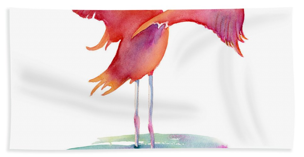 Flamingo Hand Towel featuring the painting Flamingo Wings by Amy Kirkpatrick