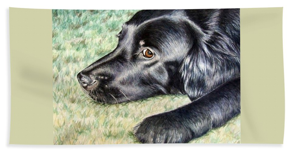 Dog Hand Towel featuring the painting Flat Coated Retriever by Nicole Zeug