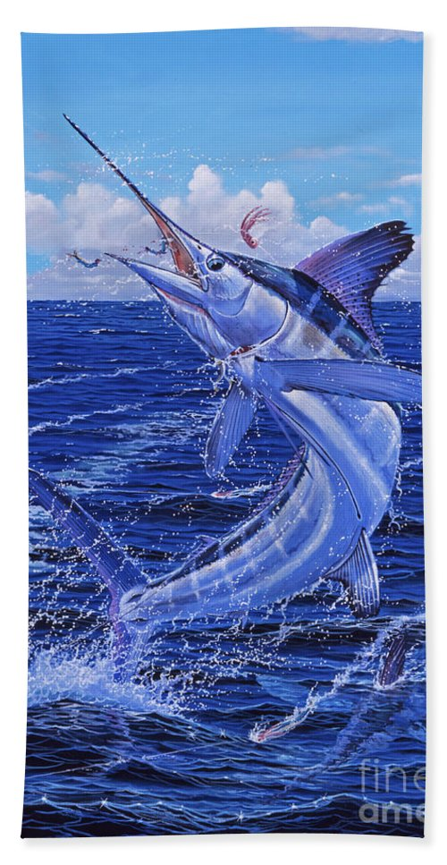 White Marlin Bath Towel featuring the painting Flat Line Off0077 by Carey Chen