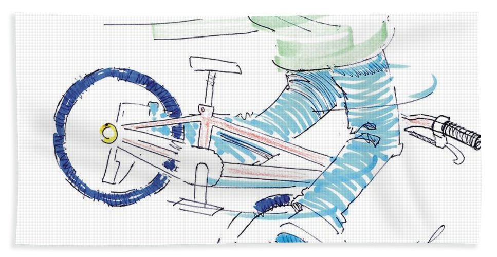 Flatland Hand Towel featuring the drawing Flatland Bmx by Mike Jory