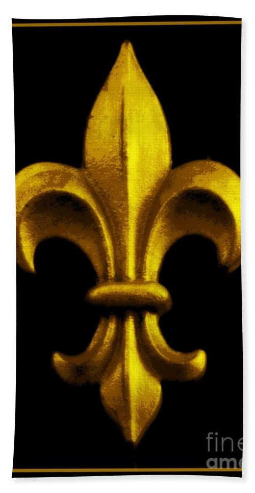 Fleur De Lis Bath Sheet featuring the photograph Fleur De Lis In Black And Gold by Carol Groenen