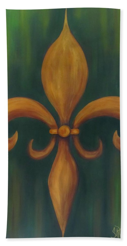 Fleur De Lis Bath Sheet featuring the painting Fleur-de-lis by Sandra Reeves
