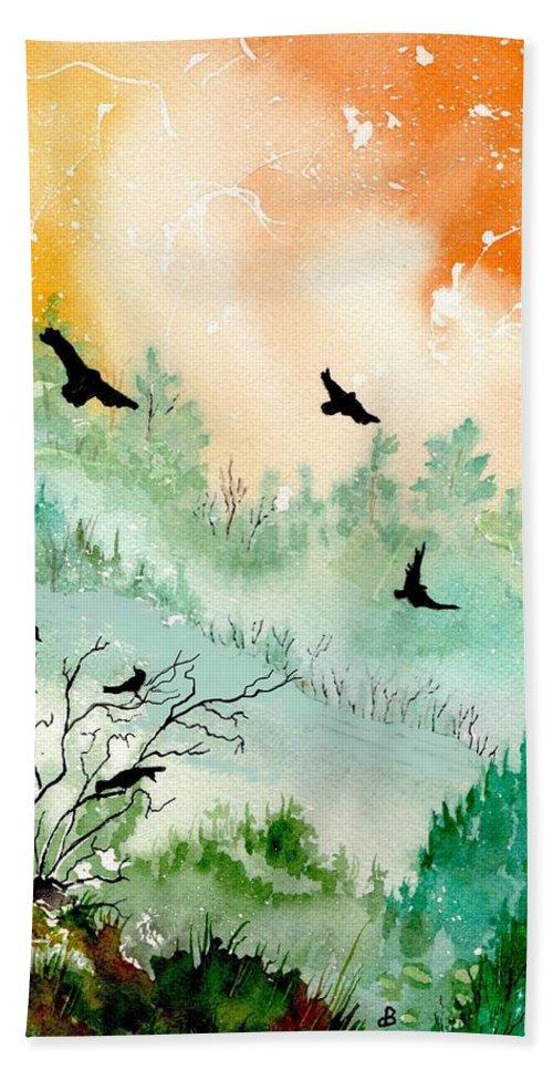 Watercolor Bath Sheet featuring the painting Flight by Brenda Owen
