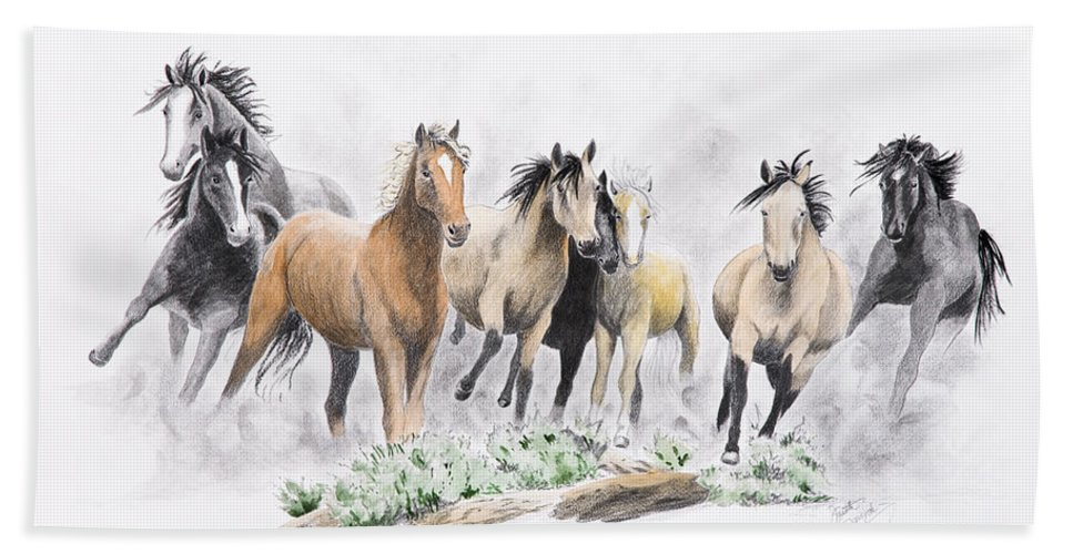 Mustangs Bath Sheet featuring the painting Flight For Freedom by Joette Snyder