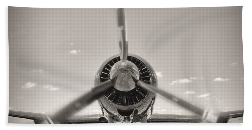 Airplane Hand Towel featuring the photograph Flight In Black And White by Rudy Umans