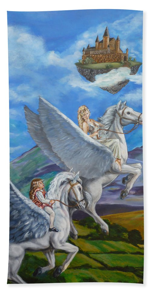 Pegasus Bath Sheet featuring the painting Flights Of Fancy by Bryan Bustard