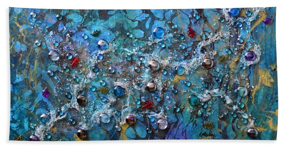 River Bath Towel featuring the mixed media Floating Down The River by Donna Blackhall