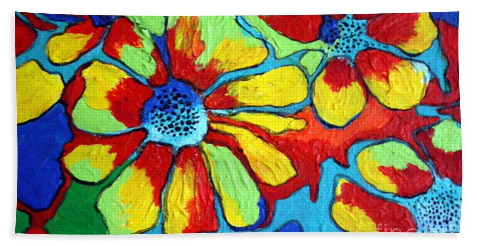 Flowers Hand Towel featuring the painting Floating Flowers by Alison Caltrider