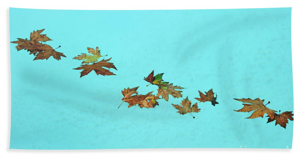Leaf Hand Towel featuring the photograph Floating by Grigorios Moraitis