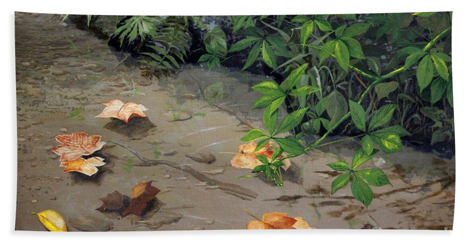 Nature Bath Sheet featuring the painting Floating Leaves By George Wood by Karen Adams