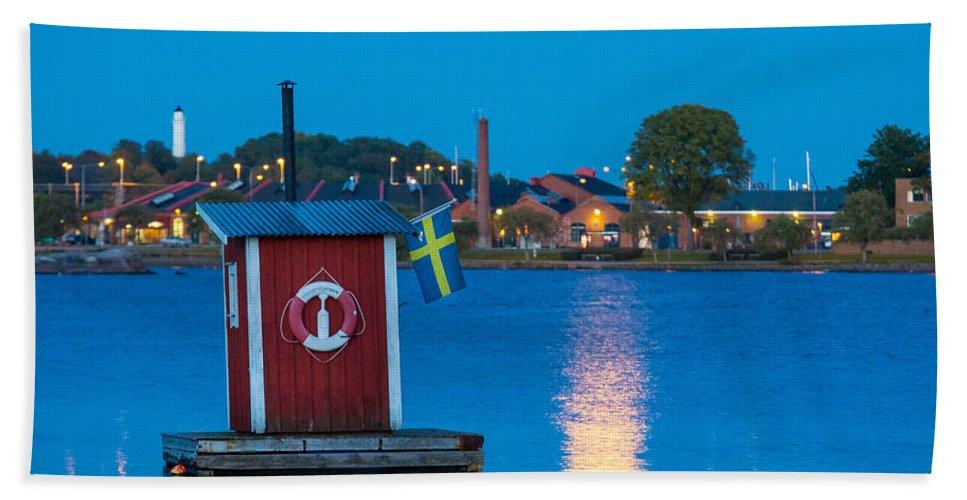 Blekinge Bath Sheet featuring the photograph Floating Sauna by Inge Johnsson