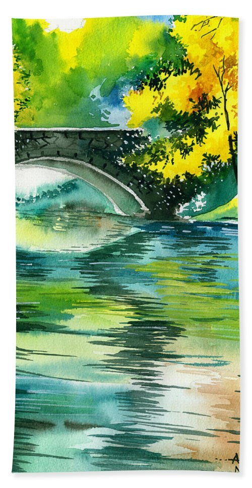 Nature Hand Towel featuring the painting Floods R by Anil Nene