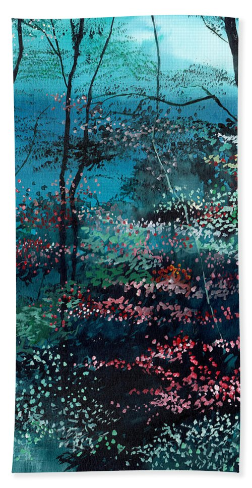 Nature Bath Towel featuring the painting Flora 1 by Anil Nene