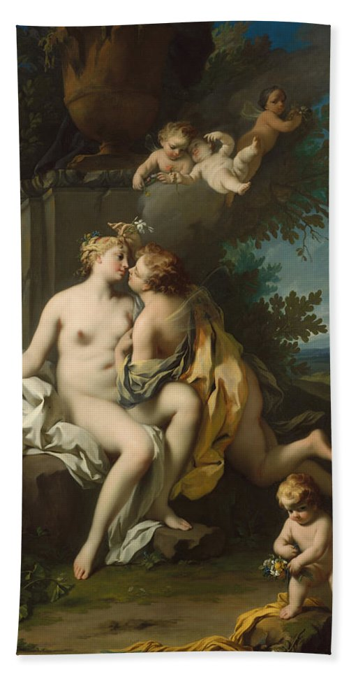 Jacopo Amigoni Bath Sheet featuring the painting Flora And Zephyr by Jacopo Amigoni