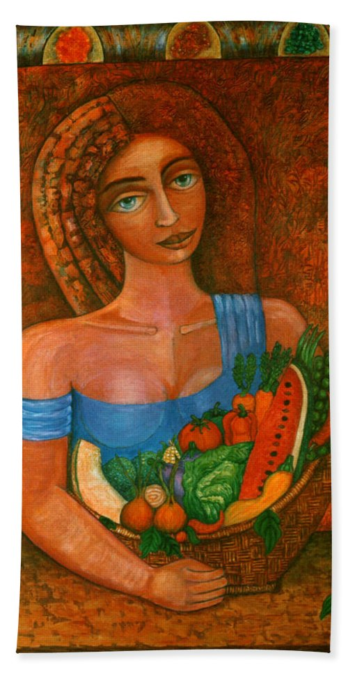 Acrylic Bath Towel featuring the painting Flora - Goddess Of The Seeds by Madalena Lobao-Tello