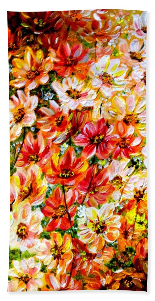 Abstract Daises Hand Towel featuring the painting Floral Abstract by Karin Dawn Kelshall- Best