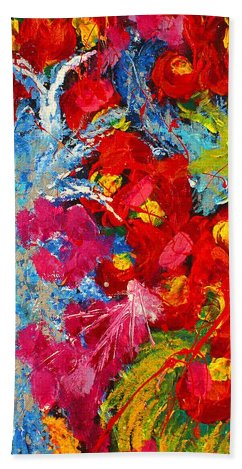 Abstract Hand Towel featuring the painting Floral Abstract Part 3 by Julia Apostolova