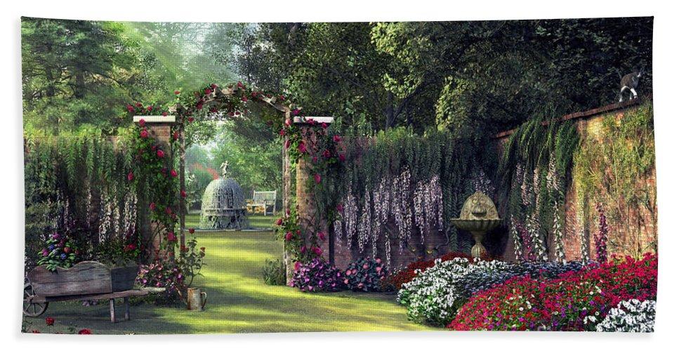 Victorian Bath Sheet featuring the digital art Floral Garden by Dominic Davison