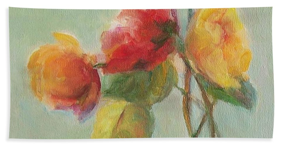Floral Bath Sheet featuring the painting Floral Painting by Mary Wolf
