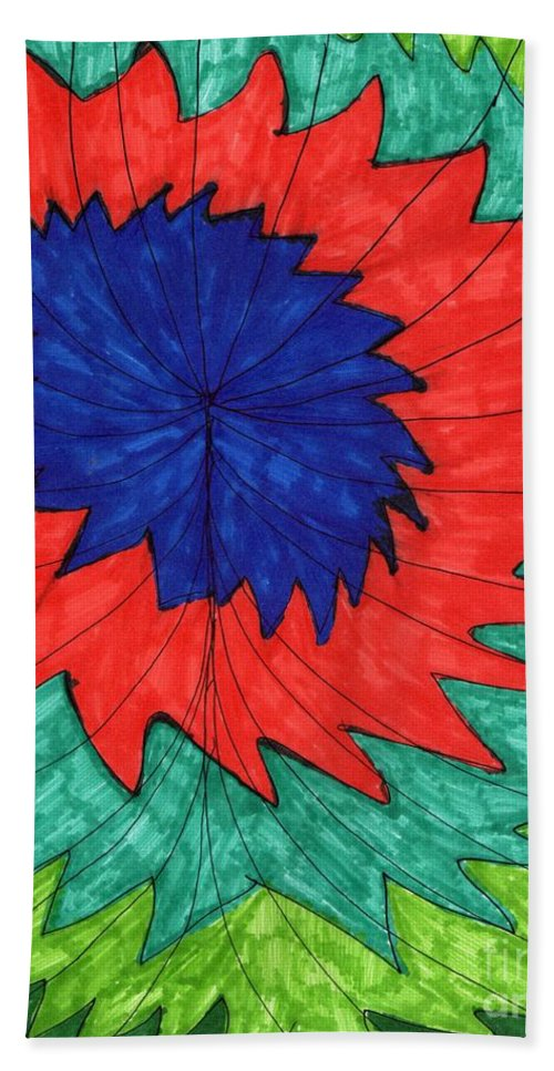 Abstract Floral Drawing Flower In Red And Blue Hand Towel featuring the mixed media Floral Spin by Elinor Rakowski