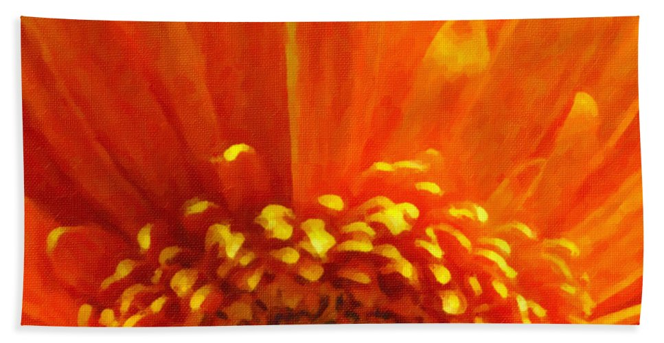 Floral Hand Towel featuring the photograph Floral Sunrise - Digital Painting Effect by Rhonda Barrett