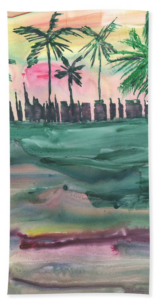 Cityscape Bath Sheet featuring the painting Florida City-skyline2 by Mickey Krause