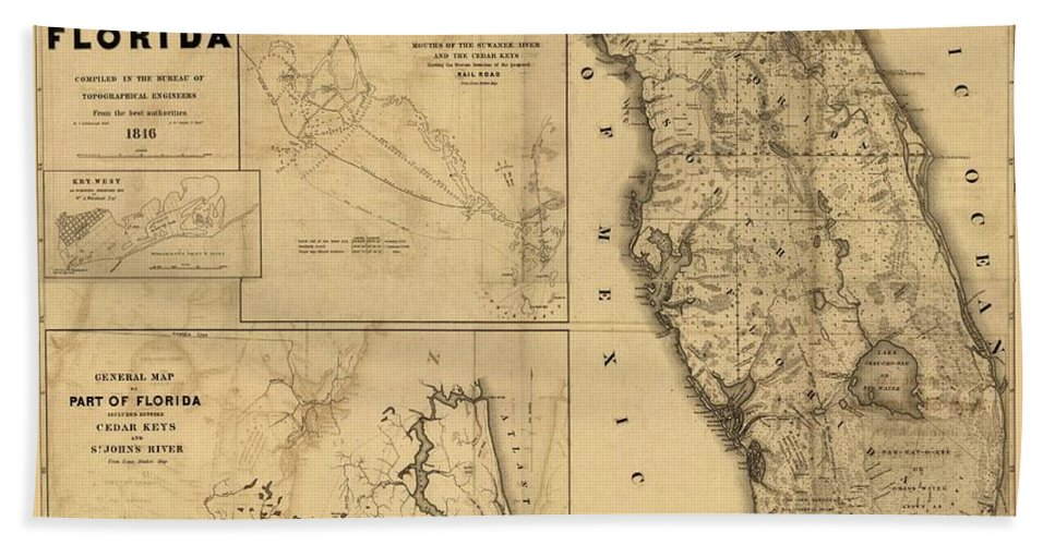 Antique Map Of Florida.Florida Map Art Vintage Antique Map Of Florida Bath Towel For Sale