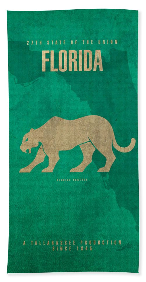 Florida Bath Sheet featuring the mixed media Florida State Facts Minimalist Movie Poster Art by Design Turnpike
