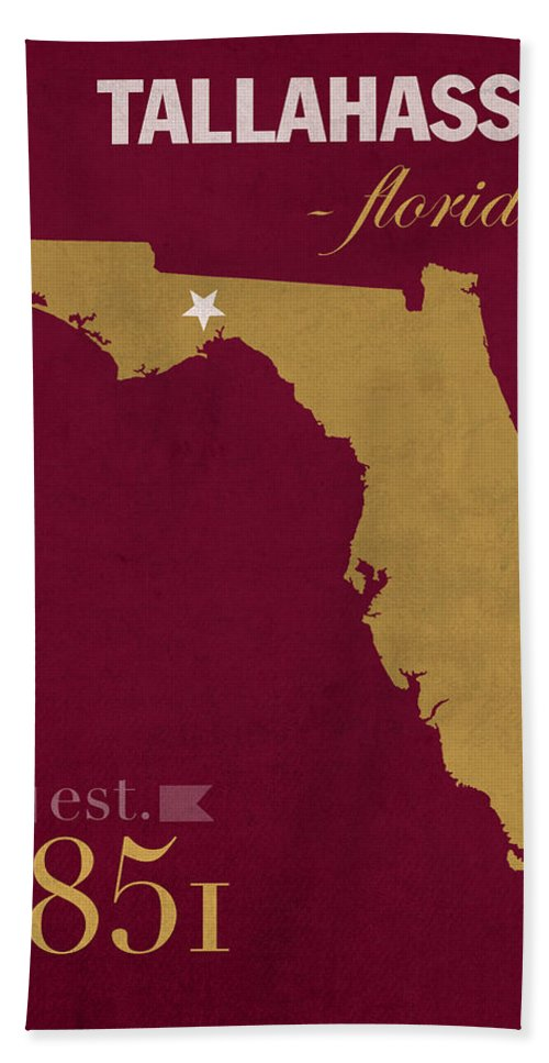 Florida State University Bath Sheet featuring the mixed media Florida State University Seminoles Tallahassee Florida Town State Map Poster Series No 039 by Design Turnpike