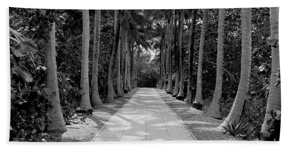 Black And White Bath Sheet featuring the photograph Florida Walkway Black And White by Carey Chen