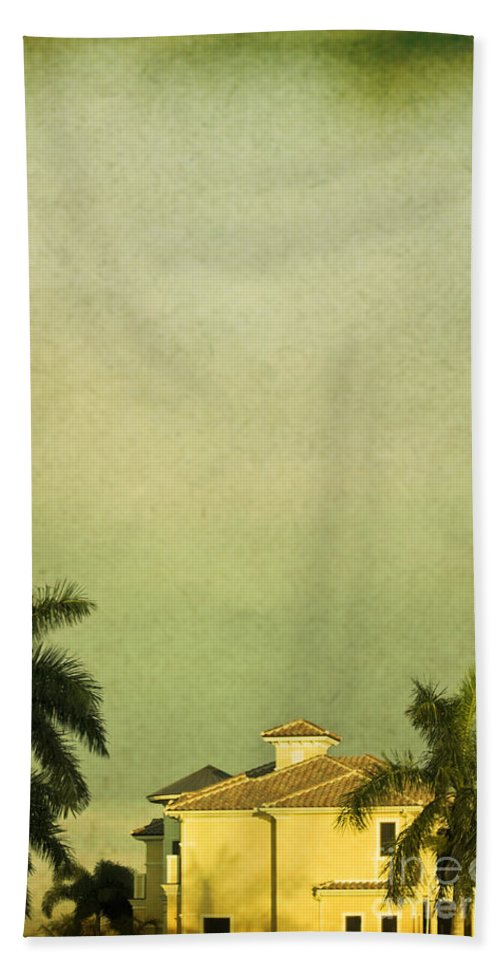 Summer; House; Home; Outside; Outdoors; Florida; Floridian; Mansion; Sunset; Palm; Tree; Palm Tree; Sky; Nobody; Expensive; Retreat; Tower; Naples; Palace; Architecture; Roof; Windows Hand Towel featuring the photograph Floridian by Margie Hurwich