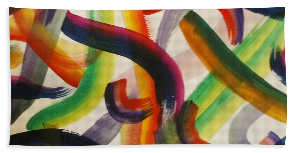 Abstract Hand Towel featuring the painting Flow by Thomasina Durkay