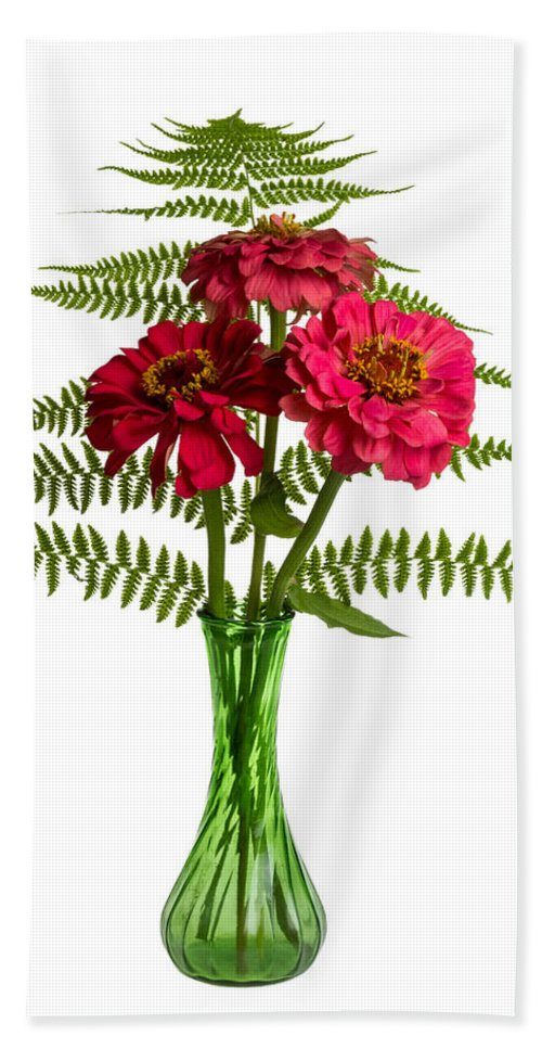 Summer Hand Towel featuring the photograph Flower Arrangement With Ferns And Zinnias by John Trax