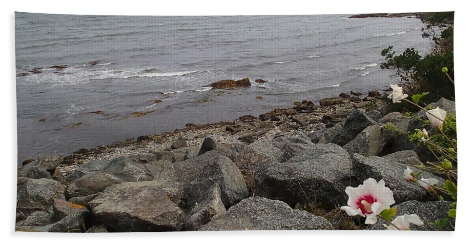 Nature Bath Sheet featuring the photograph Flower By The Sea by Robert Nickologianis