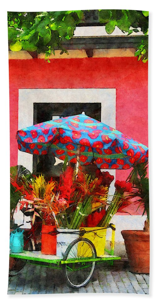 Flower Hand Towel featuring the photograph Flower Cart San Juan Puerto Rico by Susan Savad