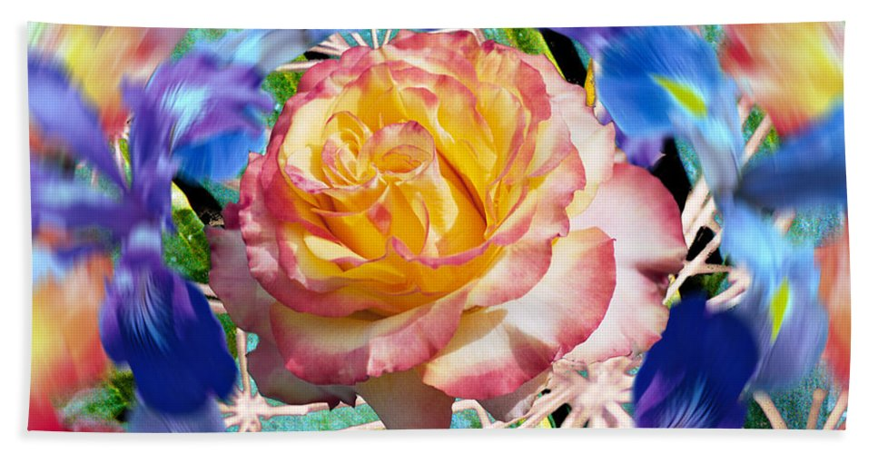 Flowers Bath Towel featuring the digital art Flower Dance 2 by Lisa Yount