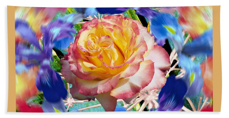 Flowers Bath Sheet featuring the digital art Flower Dance 2 by Lisa Yount