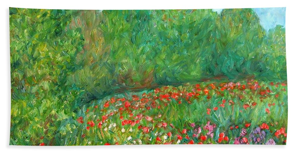 Blue Ridge Paintings Hand Towel featuring the painting Flower Field by Kendall Kessler