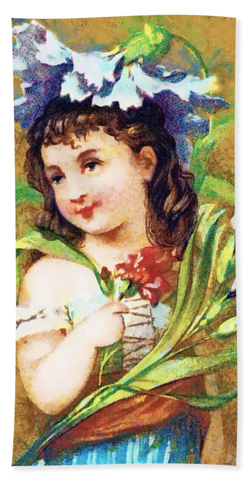 Vintage Trading Cards Hand Towel featuring the digital art Flower Girl by Vintage Trading Cards