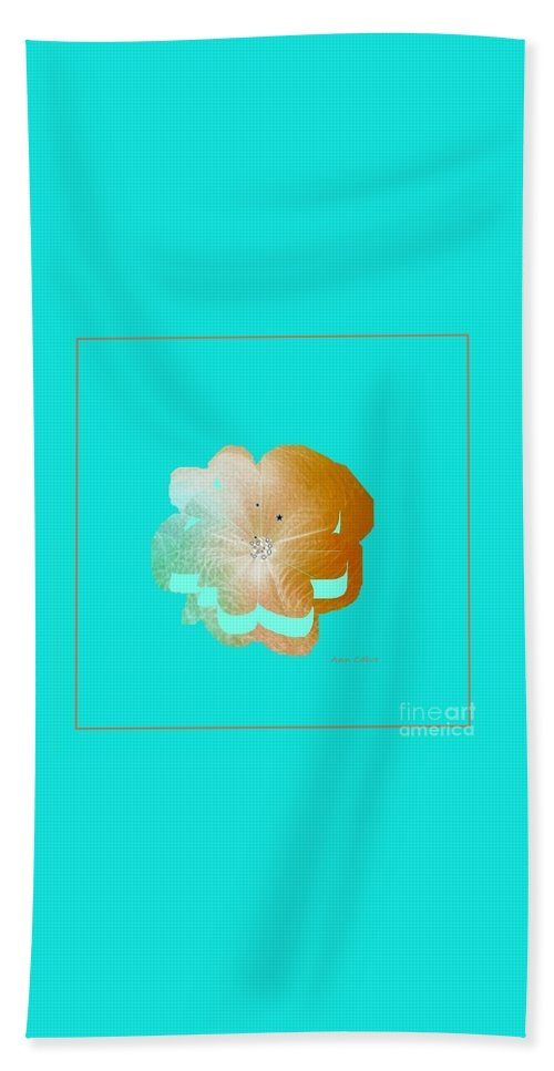 Modern Abstract Hand Towel featuring the mixed media Flower Glow by Ann Calvo