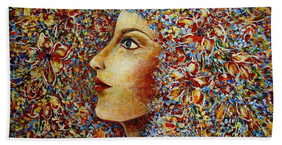 Flower Goddess Bath Towel featuring the painting Flower Goddess. by Natalie Holland