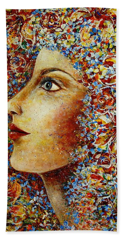 Flower Goddess Hand Towel featuring the painting Flower Goddess. by Natalie Holland