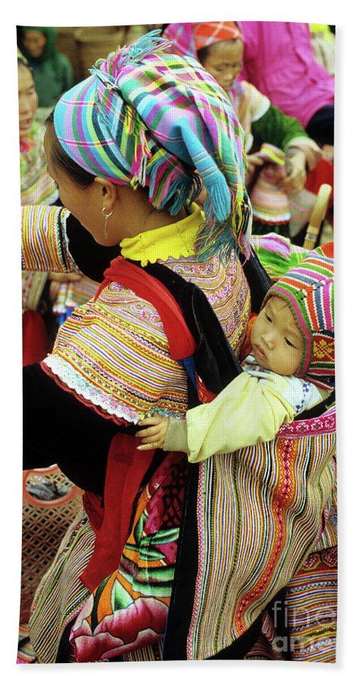 Flower Hmong Bath Sheet featuring the photograph Flower Hmong Baby 03 by Rick Piper Photography