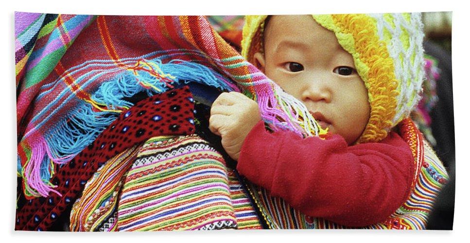 Flower Hmong Bath Sheet featuring the photograph Flower Hmong Baby 04 by Rick Piper Photography
