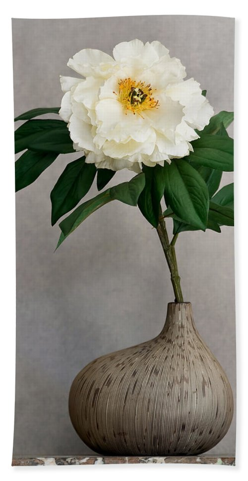 Flower Hand Towel featuring the photograph Flower In Vase by Jean-Pierre Ducondi