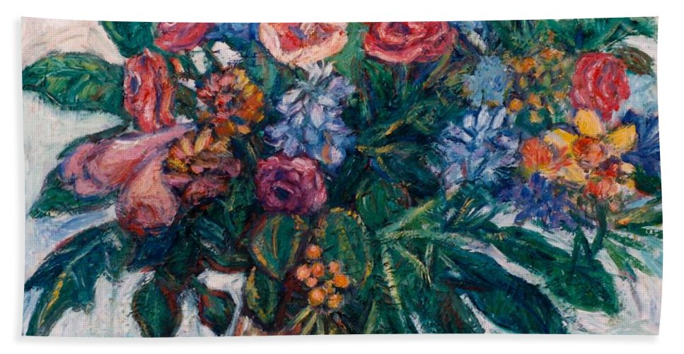 Flowers Bath Sheet featuring the painting Flower Life by Kendall Kessler