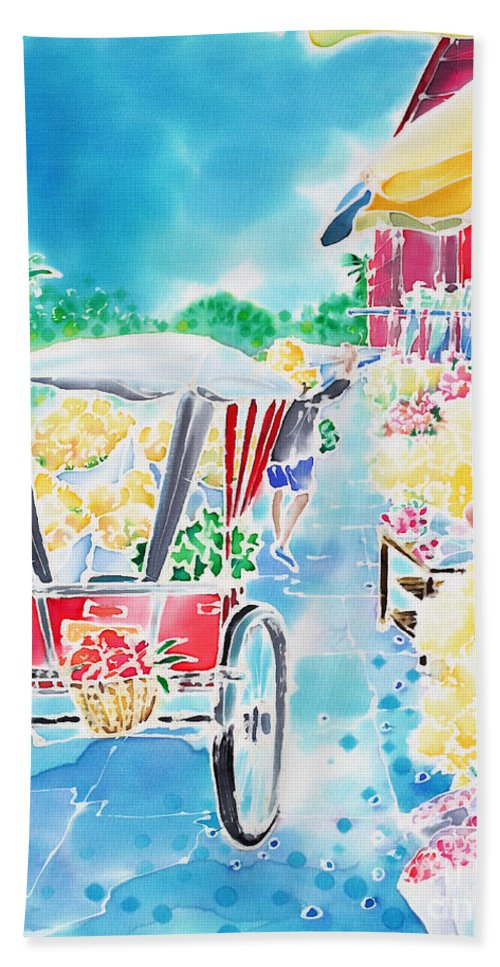 Thailand Hand Towel featuring the painting Flower Market In Chiang Mai by Hisayo Ohta