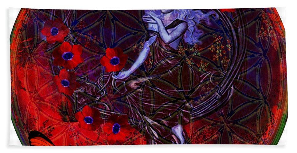Secret Symbol Hand Towel featuring the digital art Flower Of Life Nouveau by Joseph Mosley
