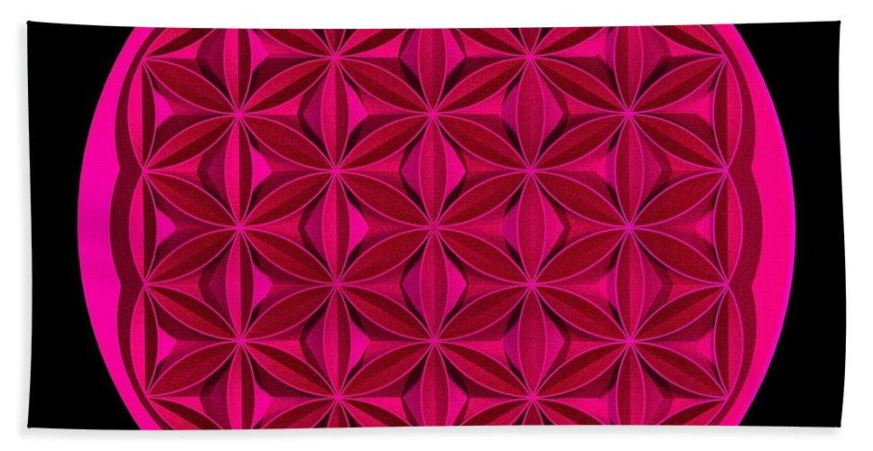 Flower Bath Sheet featuring the digital art Flower Of Life - Pink by David Voutsinas