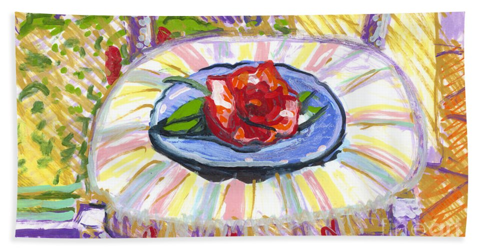 Flowers Hand Towel featuring the painting Flower On Chair by Candace Lovely
